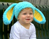 Bunny Hats Bright Blue Fluffy Easter Bunny Hat Rabbit Ears Beanie with Floppy Ears