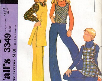 "Easy 1970s Teen Girls' Tunic, Vest, Flared Pants & Shorts Pattern - Size 13/14, Bust 33 1/2"" uncut"