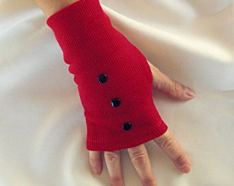 Red Wool Gloves - Scarlet Fingerless Gloves -