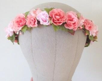 Blushing Roses Flower Crown - Rustic Weddings Bridal - READY TO SHIP