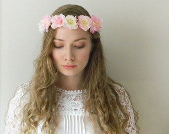 SALE -Bright Blush Flower Crown - Pink Cherry Blossom Rustic Wedding Headpiece - ready to ship