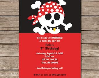 Pirate Party Invitation Arrg Skull Crossbones Bandana Boy Party Kid Treasure Digital Print File Printable