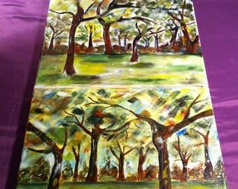 8x10 Acrylic Tree Paintings