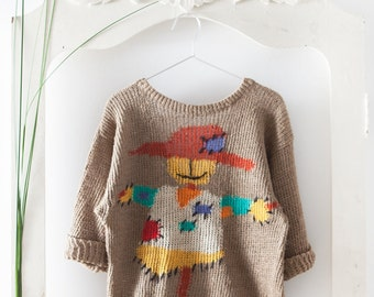 Scarecrow vintage linen sweater // 90s // S/M size