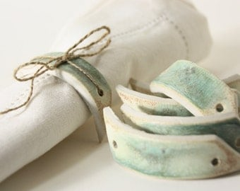 set of 6 porcelain napkin rings or wine bottle wrap with patina mossy green & dijon butter yellow glazes, for use with ribbon, wire, etc