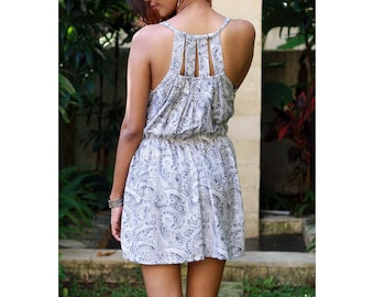 Grey and White Beach Cover Up / Grey Mini Dress / Summer Dresses / Womens Dresses / Sundress/ Casual Dresses