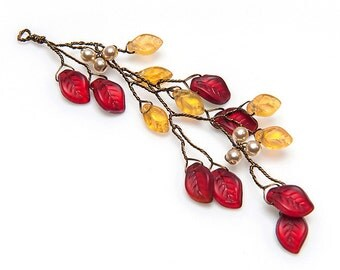 Red and Yellow Leaf Hair Vine,   Bridal Hair Accessories,  Christmas Hair Vine,  Red Gold Leaf Hair Piece,  Woodland Wedding, CPJ HV127