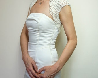 Luxurious Ivory Silk Mohair Wedding Bolero shrug, Crochet lace Shrug, Bridal Bolero Jacket