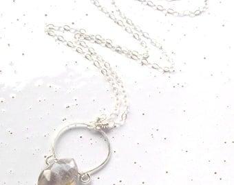 Sterling Silver & Golden Rutilated Quartz Horseshoe Necklace
