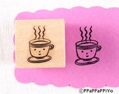 40% OFF SALE Smile coffee Rubber Stamp (20mm)