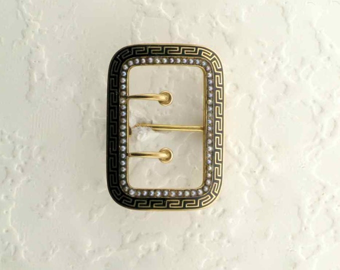 Beautiful 14 Karat Yellow Gold Black Enamel and Seed Pearl Hallmarked Buckle Pin from the Victorian Period