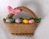 Polymer Clay Novelty Easter Basket Pin