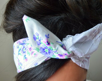 Floral Vintage Style dolly bow headband , Chic Head wrap