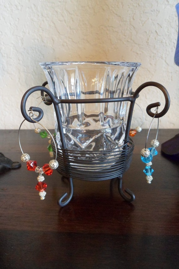 unique wine charm candle holder and set of 4 wine charms