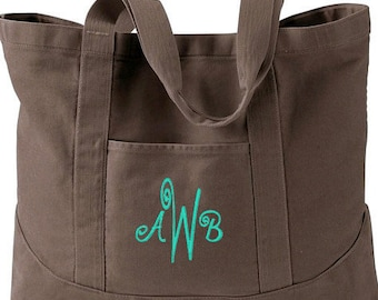 Monogram Tote Bag - Personalized Tote Bag - Monogrammed Tote Bags - Personalized Canvas Tote Bag - Available in 8 Gorgeous Colors!