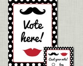 Polka Dot Gender Reveal Voting ballots cards station Mustache Lips RED black Instant Download pdf file
