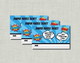 Superhero Diaper Raffle Tickets shower Aiden BC80 Printable - Instant Download