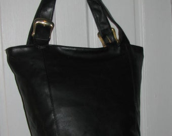 90's OVERSIZED BLACK PURSE // Extra Large Lancome Faux Leather Gold Buckles Carry All On Overnight Modern Chic Travel Bag 80's