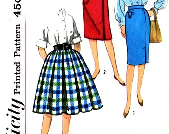 Simplicity 3202 Vintage, Full Skirt, Inverted Pleats and Wiggle Slim Skirt Patch Pockets and Front Tab Detail, Waist 23, 50's Skirt Pattern
