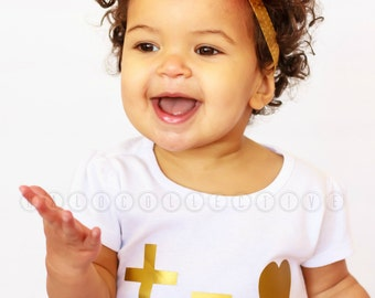 Cross and Heart Tee, Faithbased Tee, Christian Toddler shirt, Cross Shirt, Heart Shirt