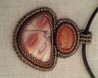 Jasper and Carnelian bead embroidered pendant on leather