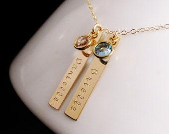 Personalized Gold Bars Birthstones Necklace, Swarovski Birthstone Mommy Jewelry, Kids Names, Birthdate Necklace, Handstamped