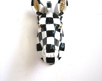 Custom Hand-painted black and white checkered zebra with gold eyes & ears:  Small Faux Taxidermy Zebra head wall mount hanging 2-3 WEEK WAIT