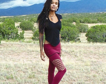 Lyra Leggings: Skirted Yoga pants with Flower of Life Sacred Geometry Screen Print. Organic cotton soy french terry.