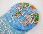 World's Greatest Mum / Mom Fabric Badge, Large Badge, Pin Badge, Fabric Covered Button, Mother's Day Gift