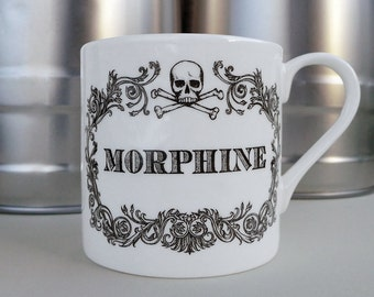 The New Apothecary Morphine Cup. Coffee mug, tea cup, coffee cup with skull illustration