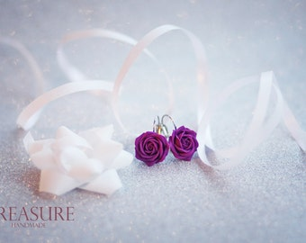 Purple Rose Earrings HandMade, Purple Roses, Purple Flowers, Purple Flowers, Flower Earrings, Floral Earring