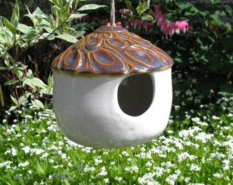 Ceramic Birdhouse in White and Caramel - Bird Feeder - home decor