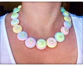 Pastel, button necklace