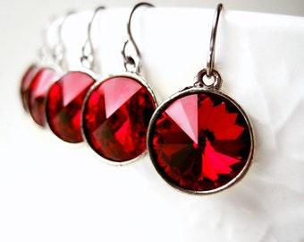 Ruby Red Earrings, Swarovski Crystal, Round Drop Earrings, Small Crystal Dangles, Rivoli Rhinestone, Antique Silver, Red Bridesmaid Jewelry