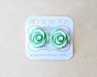 Mint Rose Earrings. Big Flower Earrings. Large Rose Stud Earrings with Resin Cabochon Rosettes for Mint Green Wedding Bridesmaid Jewelry.