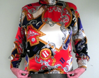 Woman's Satin Blouse size 16/18, Roll neck shirt, Vintage Shirt, Multicolour Shirt, Mansfield Originals, Cache D'Or Range