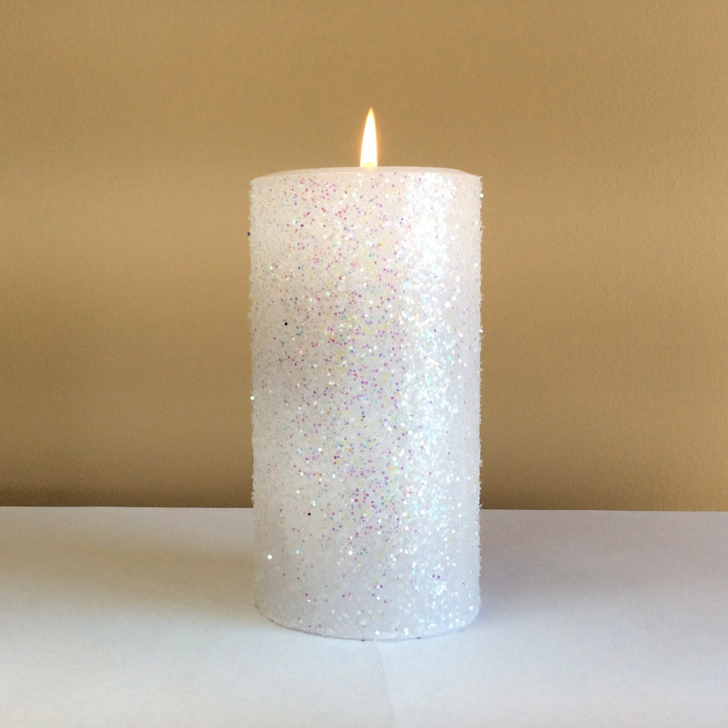 White glitter unscented pillar candle 4 6 9 inch for Shimmer pillar candle