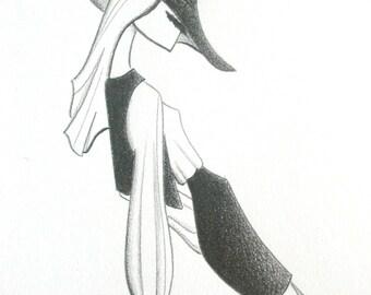 fashion illustration - fashion sketch - art - hippie - mod - boho - black and white decor