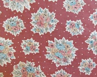 "1940's Harvest Bouquet Floral Fabric - 1 yard 13""  x 35"""