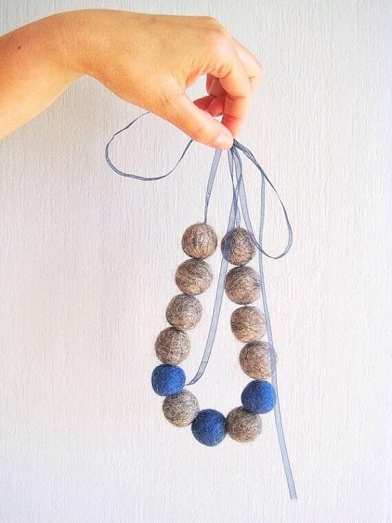 Beaded necklace felt beads simple minimalist jewelry casual felted wool balls navy marine