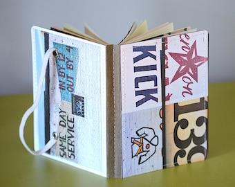 Upcycled Mini Journal- Street Art, Ready to Ship