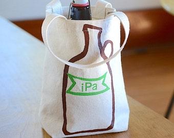 IPA Growler Bag, Screen Printed Canvas Tote, IPA Growler Tote, Beer Lover Gift, Ready to Ship