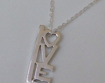 "Handmade Sterling Silver ""Love"" Pendant with Silver Chain"