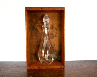 Vintage Contemporary Glass Decanter and Glass Stopper with Scalloping