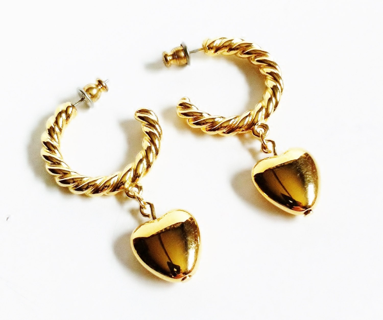 heart earrings gold - photo #13