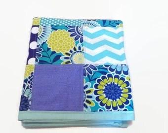 Baby Quilt-Modern-Gender Neutral- Boy or Girl-Chevron-Aqua Purple- Nursery Bedding-Crib Cot Cradle Blanket-Patchwork-Trendy-Contemporary