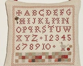 Finished Cross Stitch Primitive Pinkeep French Alphabet Sampler Decorative Pillow Ornament Ready to Ship