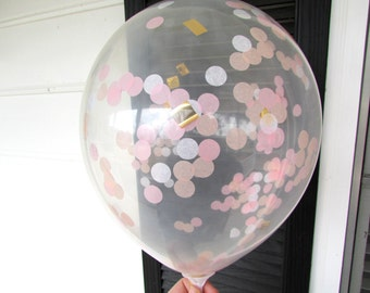 Confetti Balloons, White, Light Pink, Peach, Gold, Confetti Filled Balloons, 1st Birthday, Wedding Photo Prop, Bridal Shower, Baby Shower