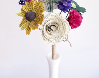 Wildflower Bouquet - Toss, Flower Girl, or Bridesmaid Bouquet with Forget-Me-Nots, Anemones, Lavender, etc. - Book Page Paper Wedding
