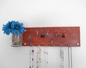 SALE Jewelry Board Organizer, Necklace and Earring Holder Wall Rack 20 inches Orange–  IN STOCK